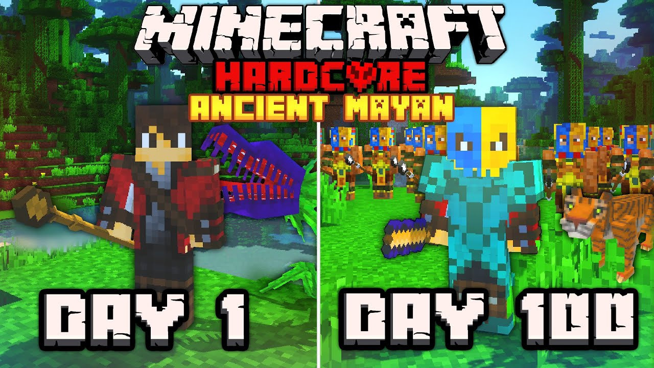 I Survived 100 Days In The Aztec & Mayan Empires   Hardcore Minecraft