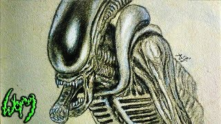 How to Draw a Xenomorph + BONUS - Time Lapse Drawing