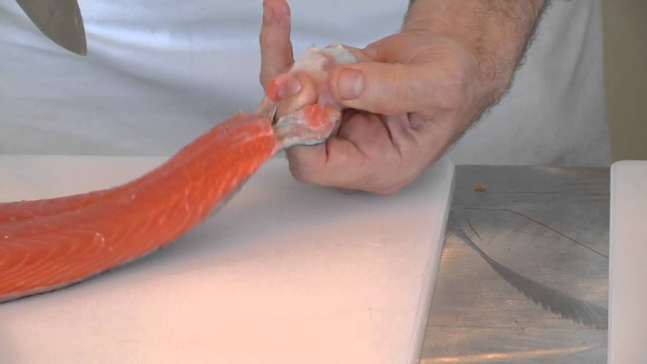 Chef Andreas Nieto Shows How To Remove Skin On Salmon Before Poaching