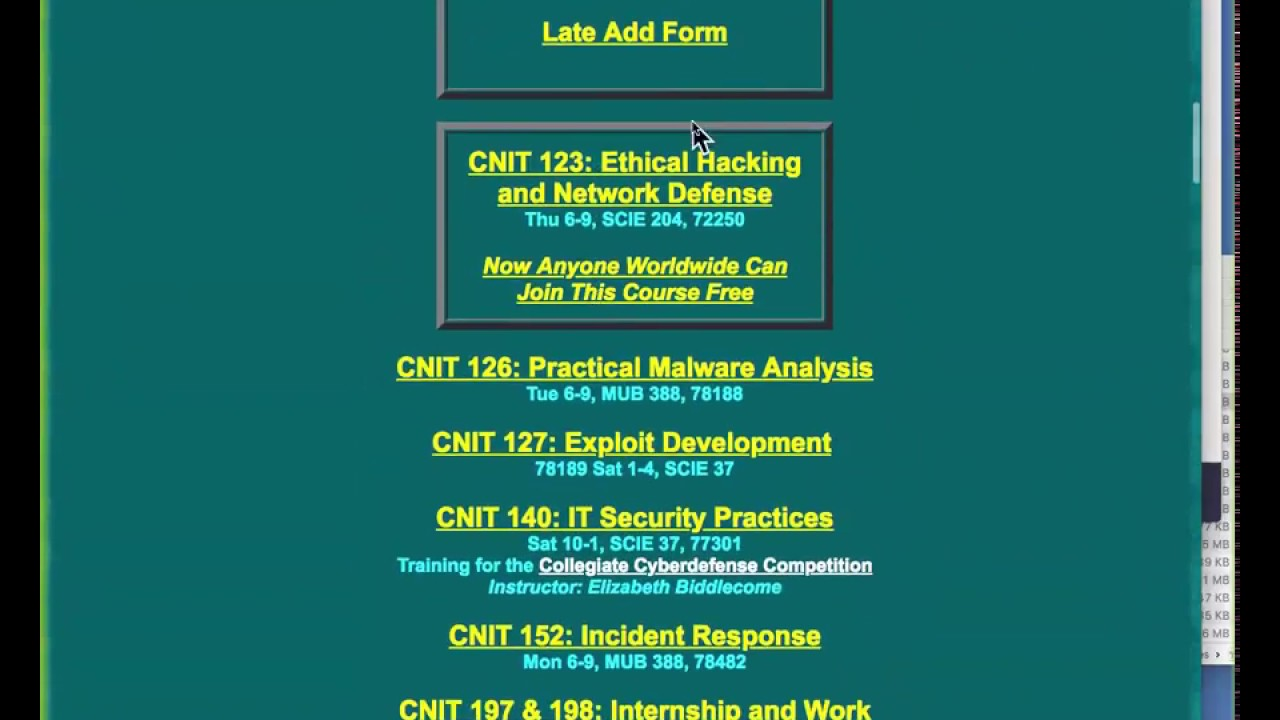 CNIT 123: Ethical Hacking and Network Defense -- Sam Bowne