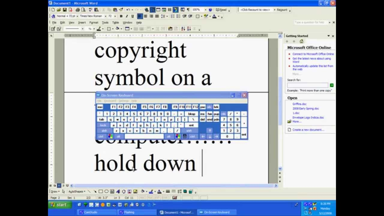 How to make the copyright symbol on a windows computer youtube how to make the copyright symbol on a windows computer buycottarizona Images