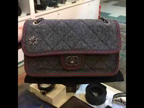 bf3826645fdc CHANEL Small Wool Flap Bag with Braid And Edelweiss A92928 - YouTube