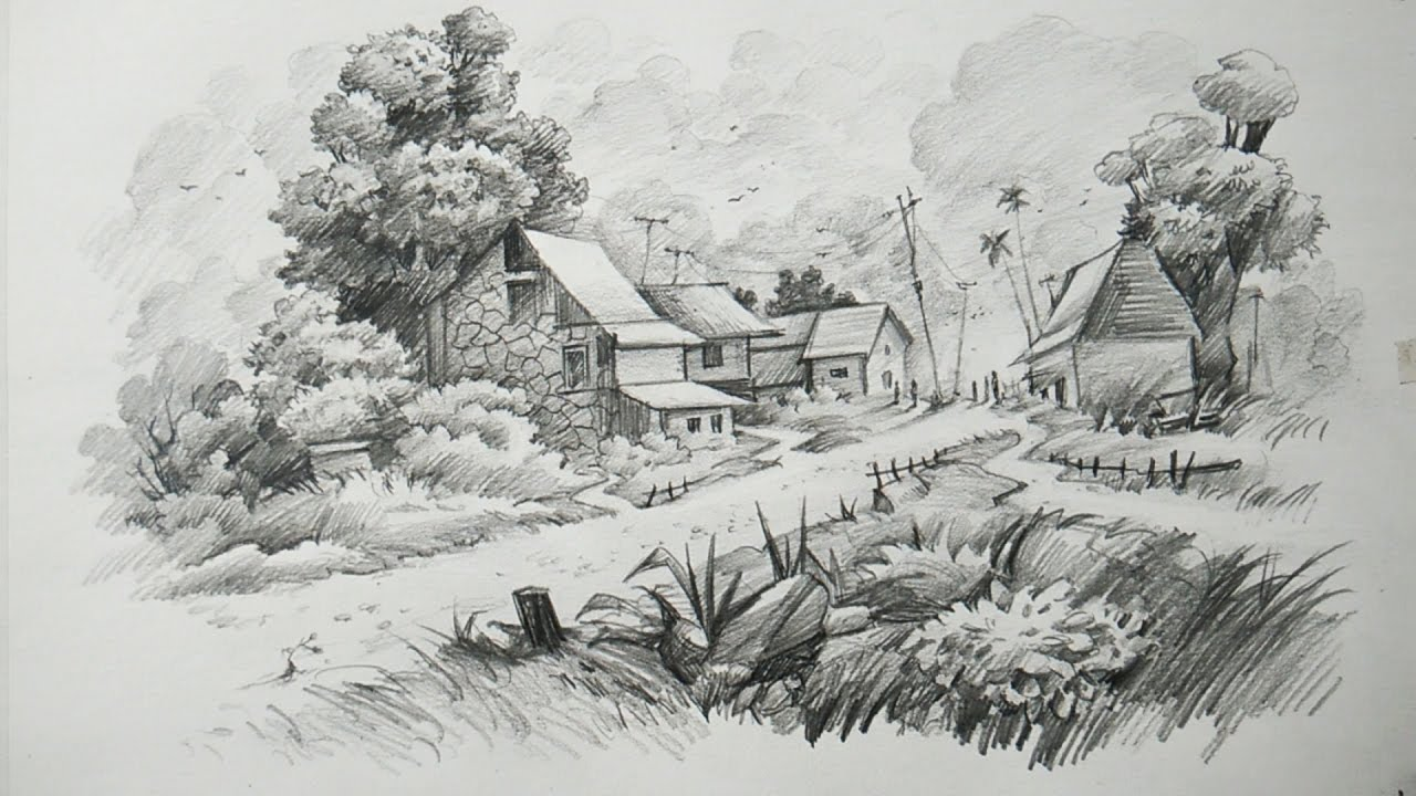 This is a photo of Gutsy Landscape Drawing In Pencil