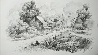 pencil landscape drawing scenery sketch draw drawings drawn sketches simple nature sketching watercolor paintings landscap
