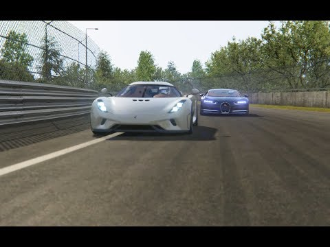 Battle Koenisseg Regera vs Bugatti Chiron at Circuit de La Sarthe