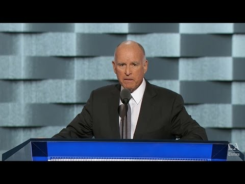 Gov. Jerry Brown of California speaks at the Democratic National Convention