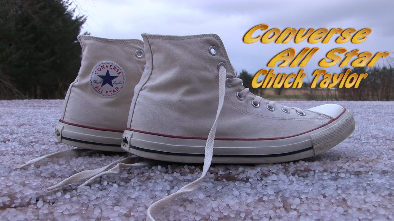 Fuerza motriz Frugal raíz  Converse All Star HI (Offwhite / Beige) - On Feet - YouTube