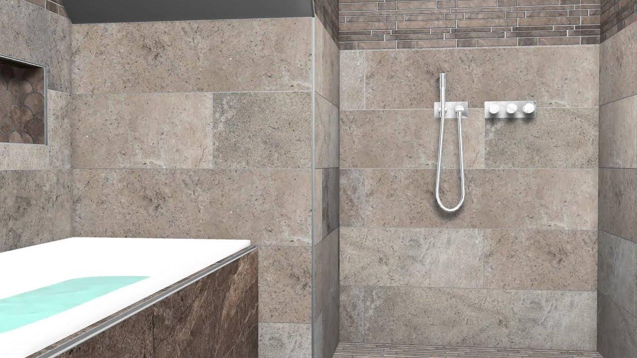 3D service van badkamer met keramische tegels - YouTube