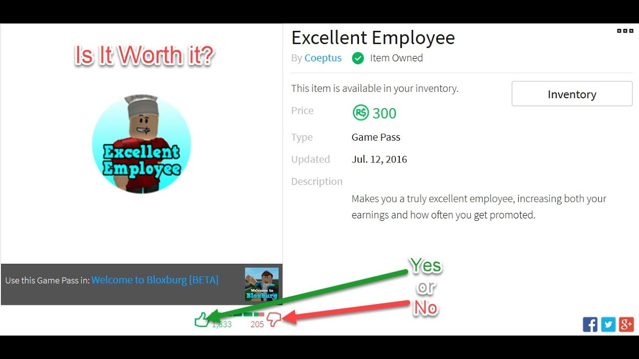 Excellent Employee Gamepass Is It Worth It Bloxburg Roblox Youtube