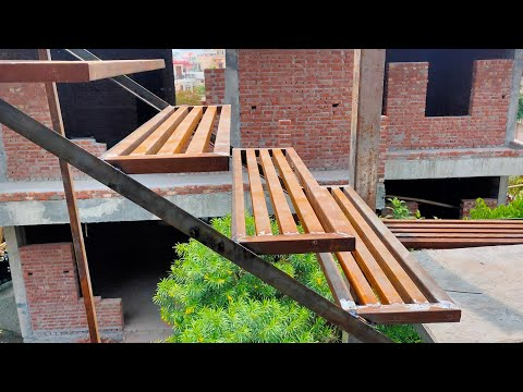 Metal steps stairs making 3rd floor  iron stairs fabrication work ideas