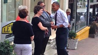 Obama Walks the Streets of Kansas City