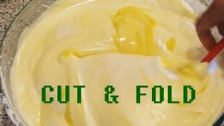 How To Cut And Fold Mix Mixing Technique Method Cake Flour Dough Mixture & Whipped Beaten Egg Whites
