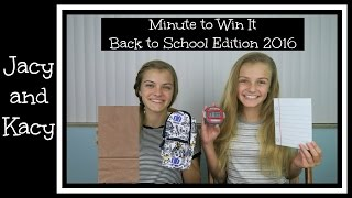 Minute to Win It Challenge ~ Back to School Edition 2016 ~ Jacy and Kacy