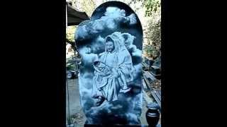 Детский памятник из гранита с пейзажем Иисус и младенец .(Памятники ритуальные, памятники гранитные , памятники резные, с портретами, рисунками,пейзажами, эпитафиям..., 2014-10-02T16:41:52.000Z)