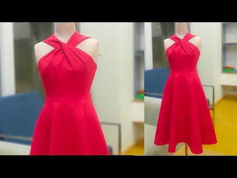 Thiết kế váy cổ yếm xoắn  Dạy Cắt May😍 Sewing Hack  Cutting Dress