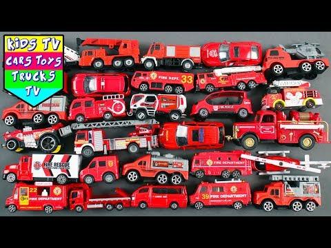 Fire Department Vehicles For Kids | Fire Engine Ladder Truck Crane Ambulance Fire Car Kids Learning