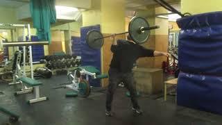 Штанга 63кг на бицепс + швунг. 63kg barbell cheat biceps curl + push press.