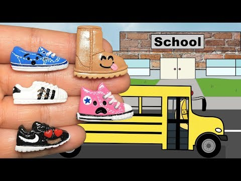 EMOJI SHOES GO BACK TO SCHOOL! Stop Motion Polymer Clay Tutorial