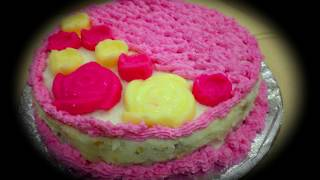 Vanilla Cake With Flowers At Home