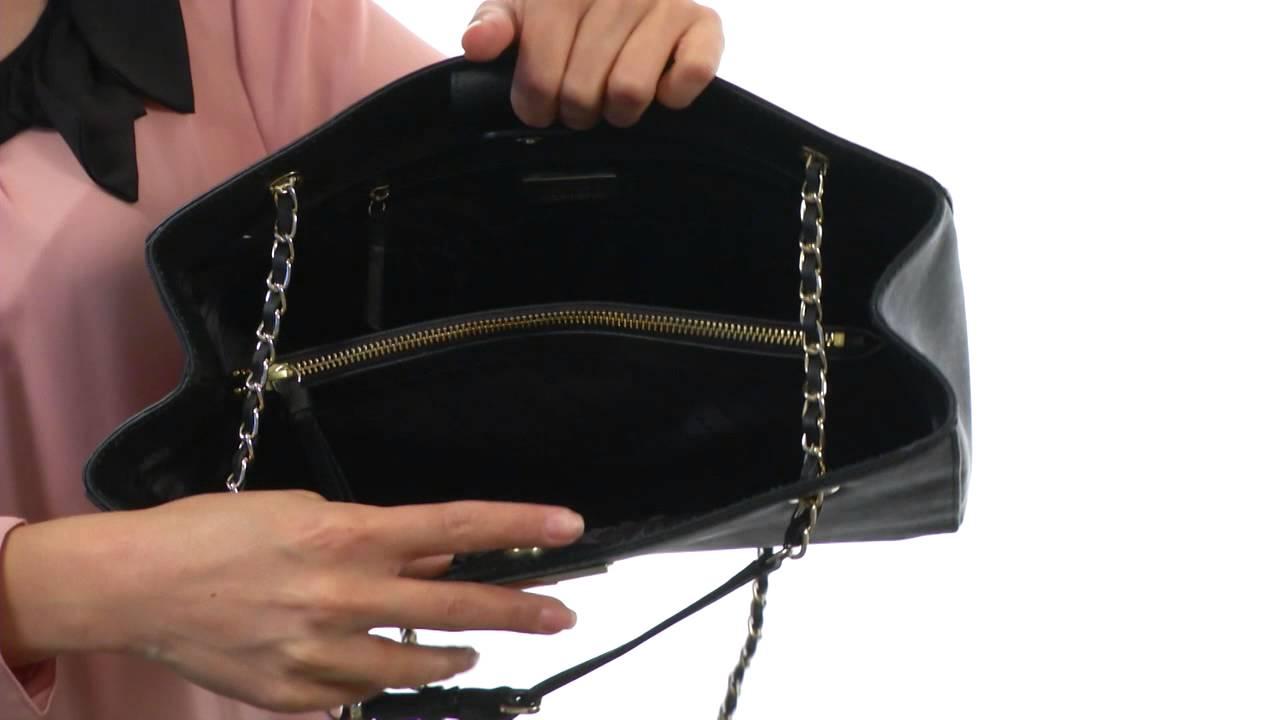 DKNY Saffiano Leather Shopper w  Chain SKU  8296567 - YouTube 3bb818314f