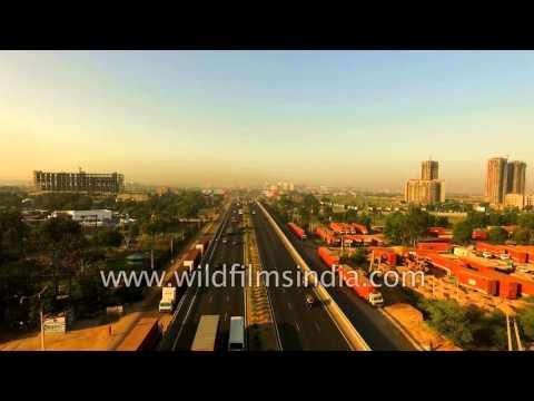 Manesar toll-way on Delhi-Jaipur NH8 freight corridor, Haryana : aerial view