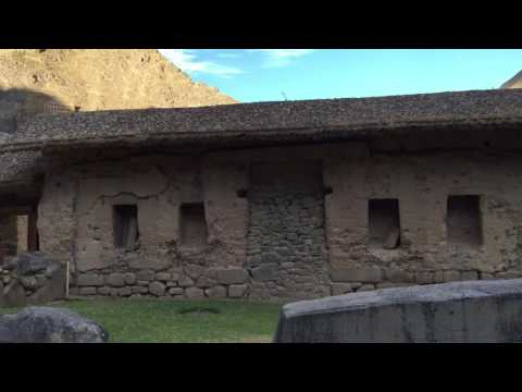Lamas in ancient inca ruins