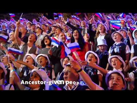 Ruská hymna během krymských oslav svátku Dne Ruska