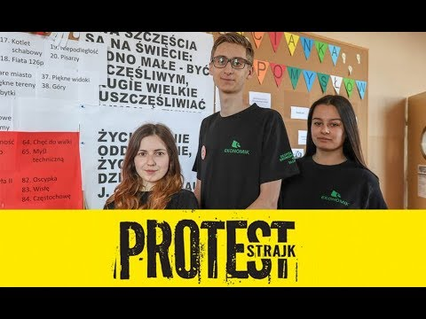 """Uczniowie Ekonomika murem za nauczycielami  """"Nie chodzi o pieniądze"""" 8.04.2019"""
