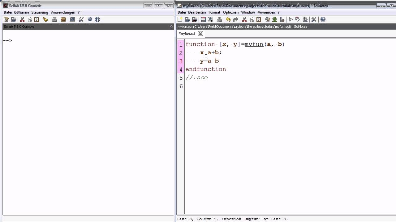 scilab tutorial 7 creating Functions