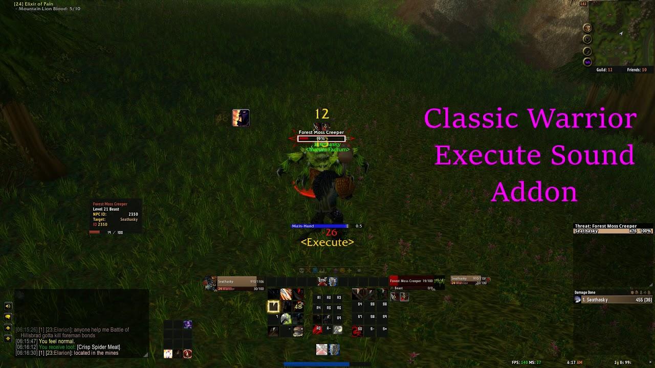 Classic Warrior Execute Sound Addon Showcase - Classic WoW