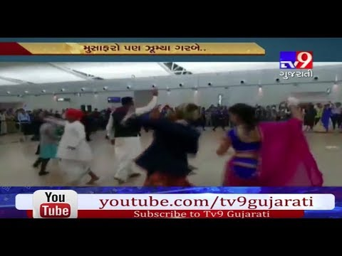 Airlines staff plays garba at Ahmedabad International Airport- Tv9
