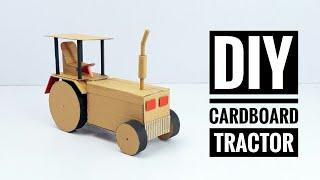 how to make a tractor - DIY cardboard craft / как сделать трактор из картона своими руками