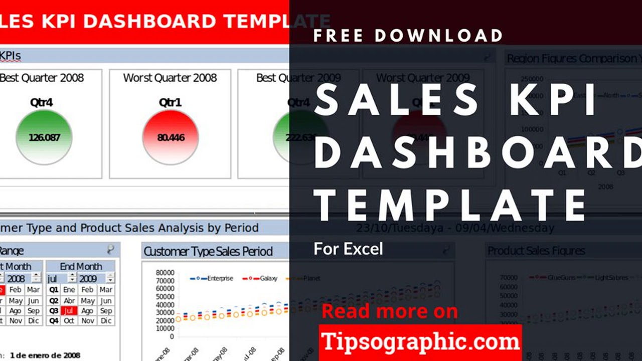 Sales KPI Dashboard Template For Excel Free Download YouTube - Dashboard excel free download