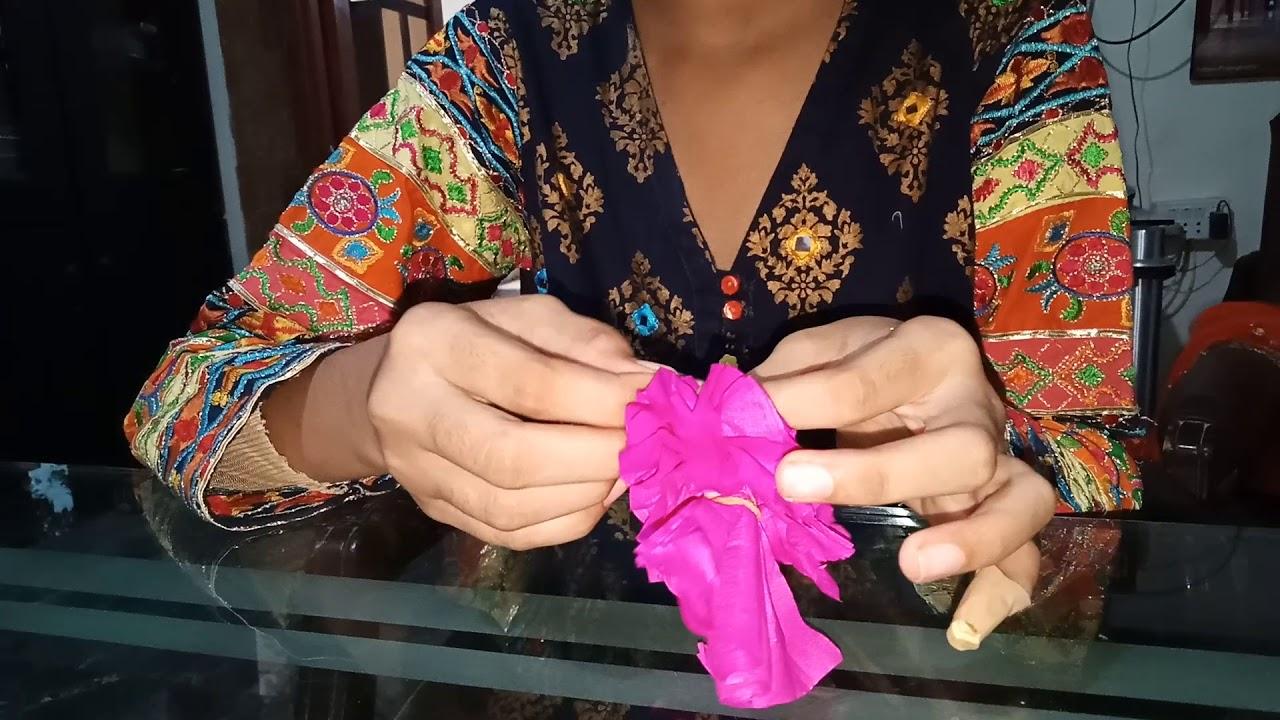 How To Make Crinkle Paper Flowers Easy Urdu Hindi Gardening Videos