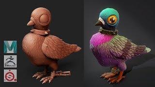 Autodesk Maya 2019 , Zbrush 2019, Painter - Stylized Pigeon