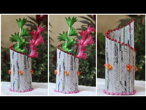 News Paper Idea Best of waste Make a Beautifull flower Vase for room decoration