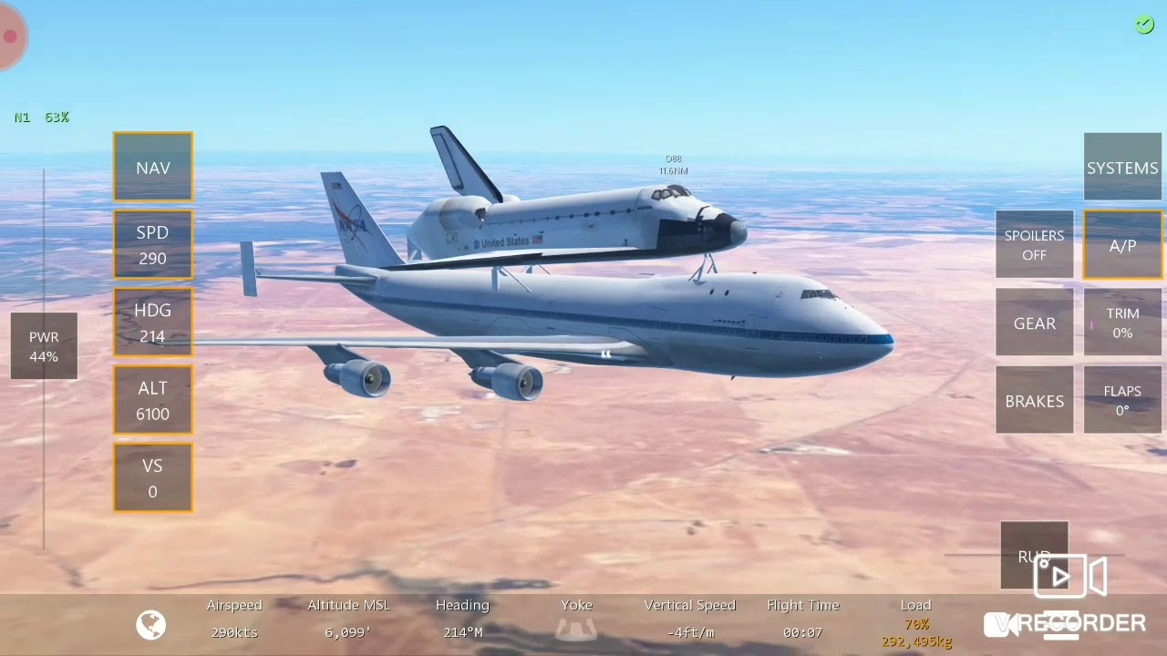 Infinite flight : chuyến bay ngắn vận chuyển tàu con thoi bởi #NASA