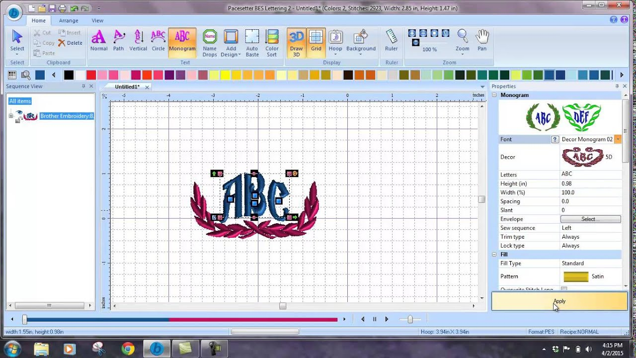 creating a monogram in bes