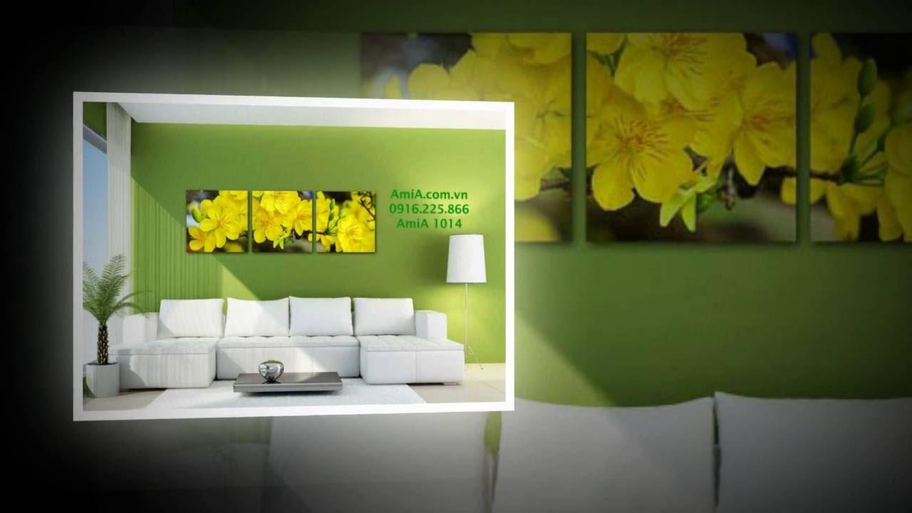 10 mẫu tranh tết hoa mai vàng cực sang cho phòng khách 2017-P1