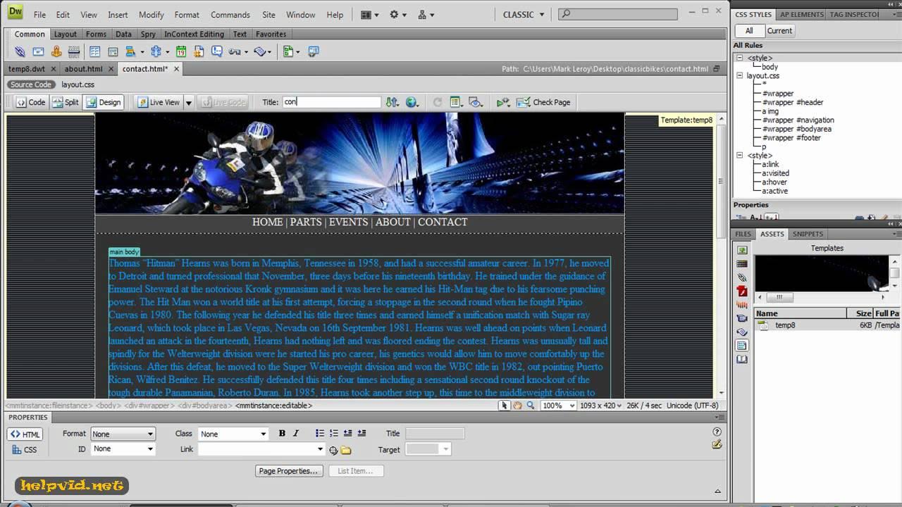 create a template in dreamweaver tutorial youtube