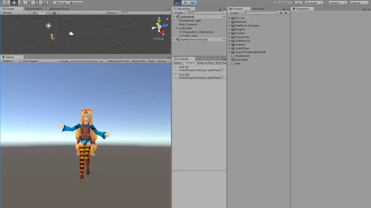 Nuitrack SDK : using VicoVRSDK and realsense D435 in Unity