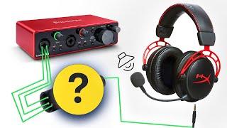 как подключить наушники с микрофоном в звуковую карту Focusrite 2i2