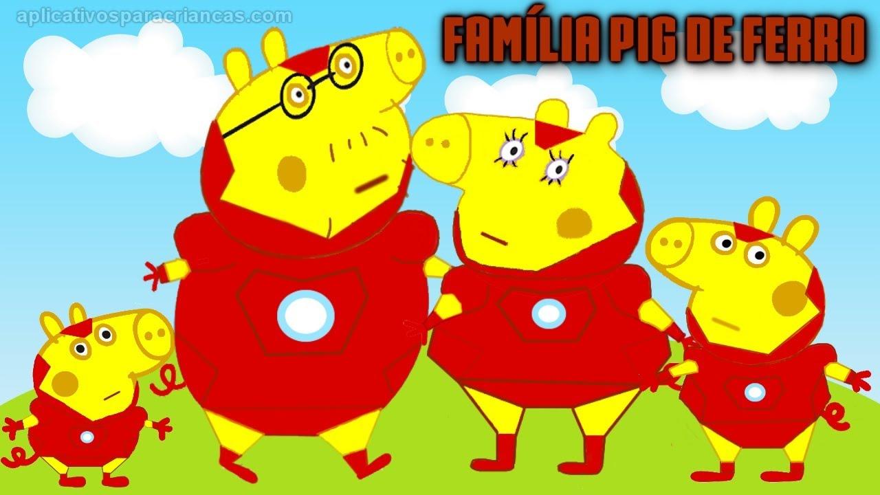 Familia Peppa Pig Homem De Ferro Desenho Avengers Vingadores Filme