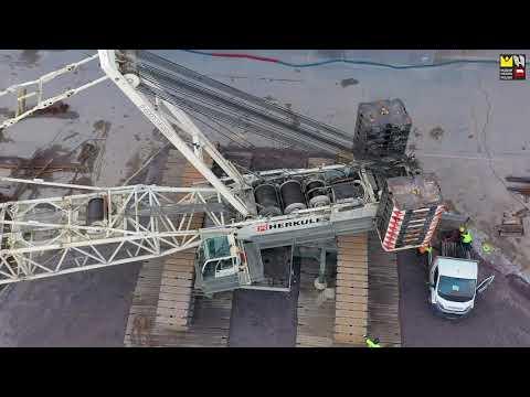 Montaż dźwigu Demag na budowie MHP (LISTOPAD 2020), przyszła siedziba MHP