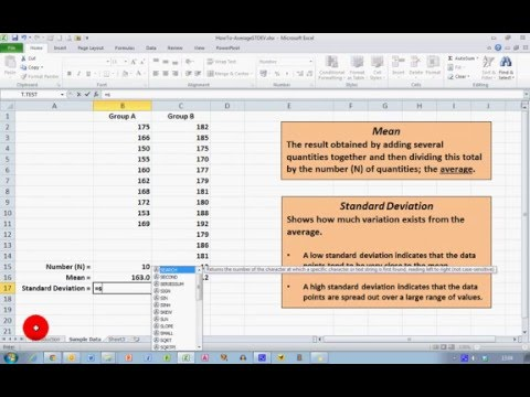 How To... Calculate Mean and Standard Deviation in Excel 2010