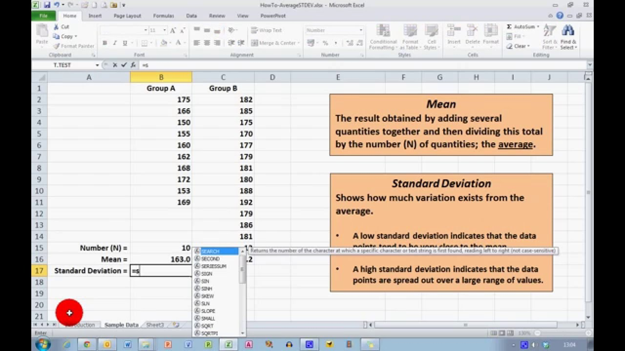 How To Calculate Mean And Standard Deviation In Excel 2010