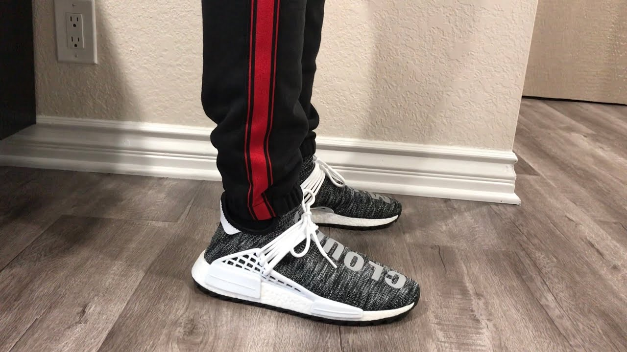 detailed look 02765 a7243 Adidas Pharrell Williams Human Race NMD Trail Oreo On Feet (with Yeezy  Calabasas Track Pants)