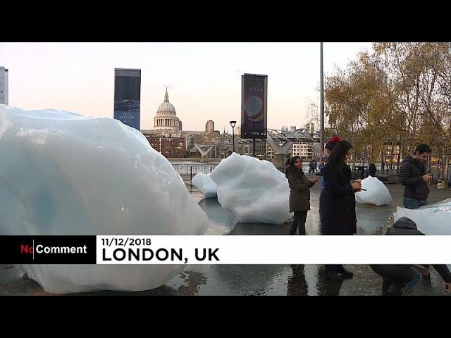 Ice block art glimmers in London to warn against climate change