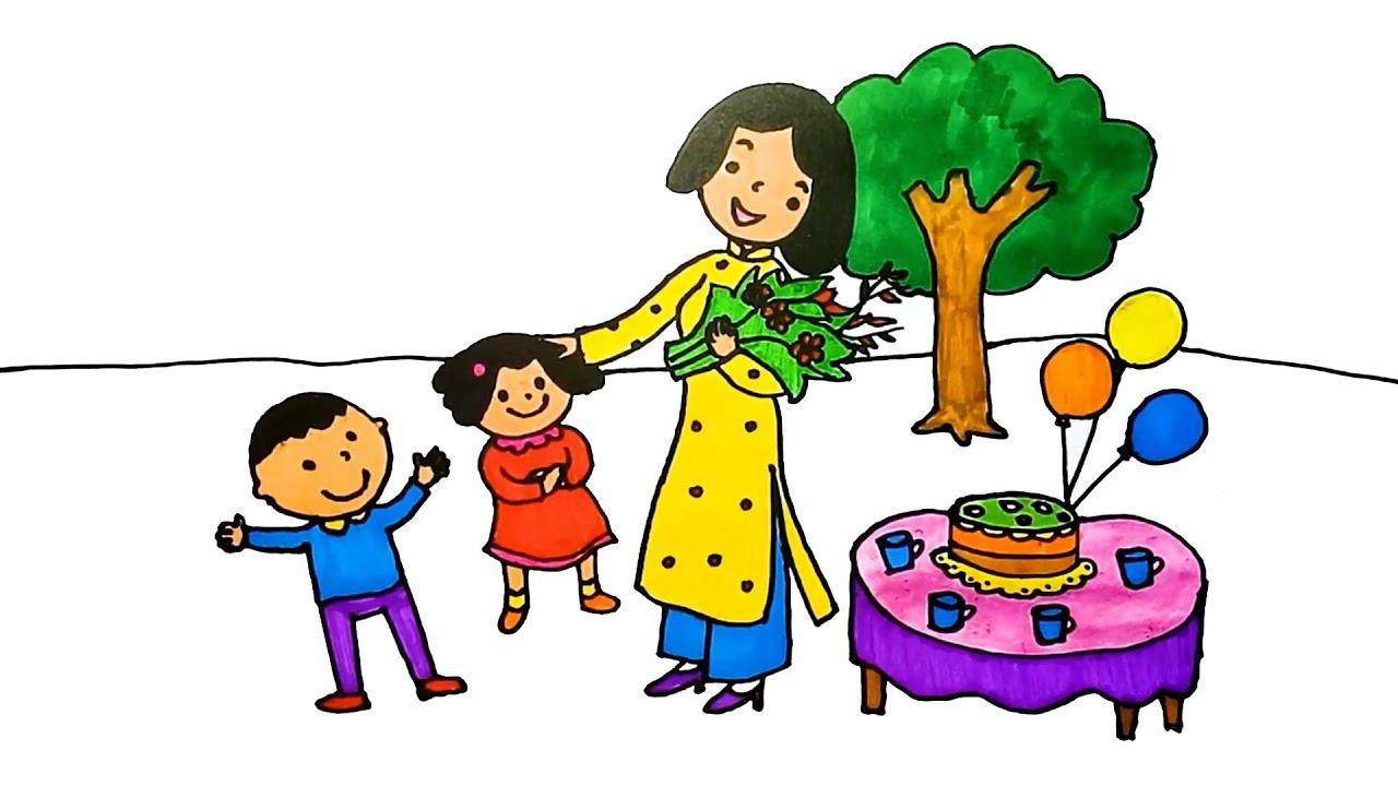Cách vẽ tranh Ngày Nhà Giáo Việt Nam 20-11  ★ Dạy bé vẽ cô giáo của em – Duy Hiếu Vlogs