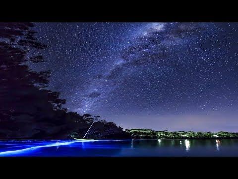 Beautiful blue glow: lit the coast of Wales.